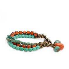 Orange & Turquoise Bracelet  Picasso Glass por RockStoneTreasures