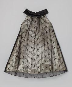 Another great find on #zulily! Black Lace Yoke Dress - Toddler & Girls #zulilyfinds