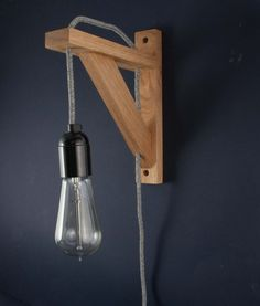 Bedroom Wall Light: Hebden with Grey Jumper Fabric Cable (five colours available) - £44.99 + free UK delivery