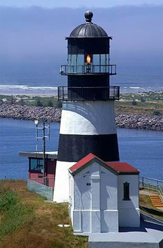 Cape Disappointment Lighthouse.  It's a half mile walk to get to the lighthouse from the parking garage.  It's still ran by the coast guard to help guide boats from the Pacific into the Columbia River.