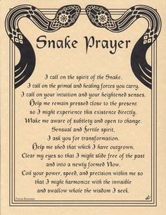 SNAKE PRAYER POSTER A4 SIZE Wicca Pagan Witch Witchcraft Goth BOOK OF SHADOWS