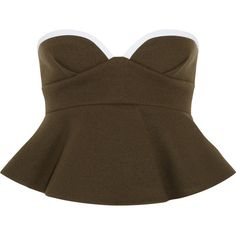 Marni Wool-felt peplum bustier ($390) ❤ liked on Polyvore featuring tops, peplum bustier, zip top, peplum bustier top, zipper peplum top and brown tops