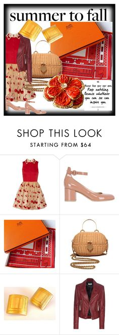 """SUMMER TO FALL"" by francoisefortier ❤ liked on Polyvore featuring Alice + Olivia, Gianvito Rossi, Hermès, Chanel, Helena Rubenstein, Balenciaga and vintage"