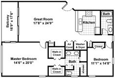 Two bedroom house plans two bedroom cottage floor for Walk up apartment floor plans