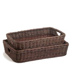 WICKER SERVING TRAY - Mealtime organization isn't the only function of a wicker serving basket. Dress up your everyday table or counter display with this beautiful and useful wicker serving tray. A sturdy reinforced wood base can handle considerable weight, while high woven wicker sides stabilize the load. This is one kitchen pantry basket you won't want to hide in the pantry.