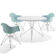 White/Chrome pictured with the Eamed Molded Plastic Armchair with Metal Base Options (sold separately)