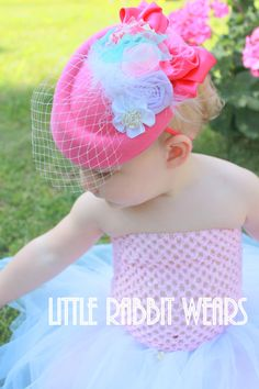 The Dolly- Downton Abbey Inspired pink feather baby girl toddler fascinator hat and headband photo prop on Etsy, $24.00