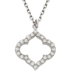 RHODIUM PLATED CZ CUTOUT ROYAL CLOVER NECKLACE 16