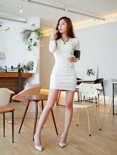 Easy Long Sleeve Button Detail Bandage White Work Dresses