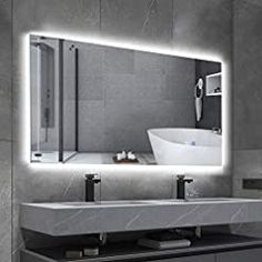 BBE 40 x 24 Inch LED Bathroom Mirror Dimmable Backlit Anti-Fog Wall Mounted Makeup Mirror with Touch Switch(Horizontal… Backlit Bathroom Mirror, Wall Mounted Makeup Mirror, Led Mirror, Mirror With Lights, Bathroom Mirror With Storage, Led Bathroom Lights, Bathroom Mirror Design, Modern Bathroom Lighting, Lighted Vanity Mirror