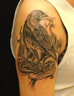 crow tattoo by Russ Abbott of Decatur, GA