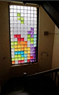 Best use of glass block windows ever #Tetris