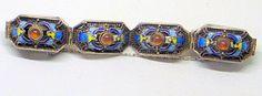 Vintage Chinese Silver Enamel Bracelet  Sterling Bat by JanEleven