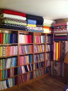 My work room ideas sewing room organized- I want to do this Sewing Room Design, Sewing Room Storage, Craft Room Design, Sewing Spaces, Sewing Room Organization, My Sewing Room, Craft Room Storage, Fabric Storage, Sewing Rooms