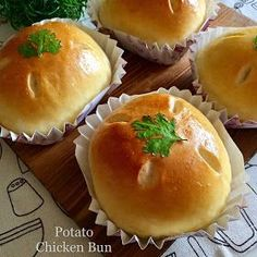 Soft milk bun with tender chicken chunks in creamy whipped potato filling. I used to find this potato chicken buns easily at local bak...
