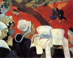 Paul Gauguin- Vision after the Sermon; Jacob Wrestling with the Angel. The thing you need to know about Ganguin is that he made color arbitrary- It does not describe, it evokes.