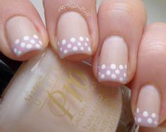 The nail buff: polka dot french fancy nails, love nails, my nails, Get Nails, Love Nails, How To Do Nails, Pretty Nails, Hair And Nails, Manicure Colors, Nail Colors, Manicure Ideas, French Nails