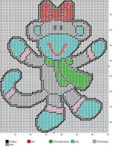 SOCK MONKEY WITH BOW AND SCARF by SUNSHINE DESIGNS - WALL HANGING