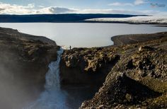 Draining Lake, Iceland  - by PhotonPhotography -Viktor Lakics (We finally saw this beautiful waterfall - first we did not see the lake at all, only when we hiked up to the highland we realized that the waterfall is fed by the glacier-fed lake!)