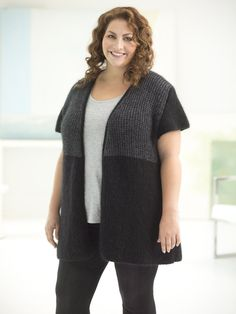 """Our Curvy Girl Urban Color Vest is the perfect addition to any outfit - dress it up or down!  Make it with 8 balls of LB Collection Superwash Merino and Silk Mohair and size 9 36"""" circular knitting needles. Free pattern available 8 sizes including PLUS! Crochet version also available!"""