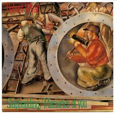 "Robert Wyatt: Shipbuilding b/w Memories of You. 7"" vinyl single record sleeve. Rough Trade Records, London, 1982. RT 115. Cover painting is a detail of Shipbuilding on the Clyde: Riveters by Stanley Spencer."