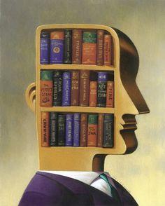 Cerebro-biblioteca, cerebro de lector (ilustración de Jim Tsinganos)