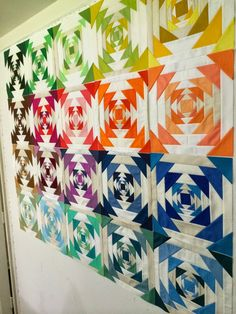 olive and ollie:  improv pineapple quilt---a pineapple block done in gradated solids.