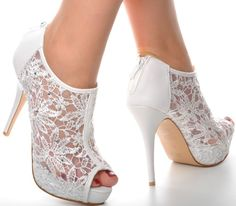 Off White Lace Diamante Platform Wedding Ankle Boots Heels Peep toe Shoes. Price: £24.95