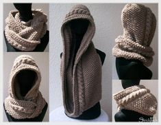 Scoodie strickenThanks for this post.Many knitters now know this scoodie and many have already tried these instructions. Working quickly, he is a nice companion in winter. You can find more color and yarn variants here in the b# Knit Poncho Crochet, Poncho Knitting Patterns, Crochet Diy, Free Knitting, Baby Knitting, Crochet Patterns, Crochet Hats, Patterned Socks, Knitting Projects