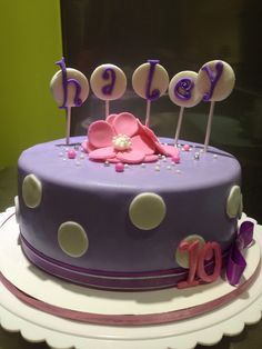 Girly cake for a ten year old. Fondant pink and purple cake.