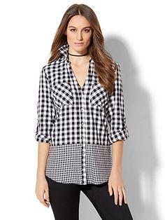 Soho Soft Shirt - Mixed-Plaid Print - New York & Company Gingham, Topshop, Dressing, New York, Plaid, Black And White, Clothes For Women, My Style, Big Shirts