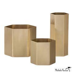 Brass Hexagon Container Short
