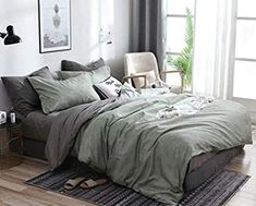 Green Comforter, Grey Duvet, Green Bed Covers, Room Ideas Bedroom, Bedroom Decor, Sage Green Bedroom, Grey Green Bedrooms, Farmhouse Bedding Sets, Grey Room