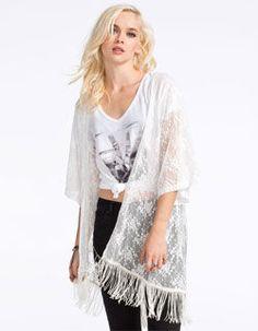 FULL TILT Womens Lace Fringe Kimono