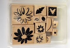 Stampin' Up  Mix of 12 Wood Mounted Rubber by DonnasVintageCrafts