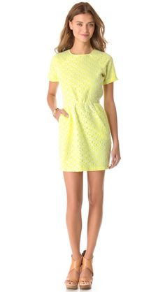 Neon eyelet dress with pockets by DV Dolce Vita!  The cutout back makes this dress even more fabulous!