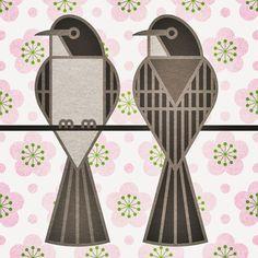 scott partridge - state bird and flower - Mockingbird and Apple Blossom