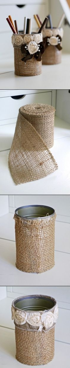 DIY Rustic Pencil Holder http://www.unitednow.com/search.aspx?searchTerm=burlap