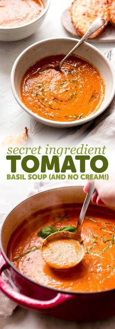 Secret Ingredient Tomato Basil Soup Secret Ingredient Tomato Basil… Receitas Gostosas – Yemek Tarifleri – Resimli ve Videolu Yemek Tarifleri Easy Soup Recipes, Vegetarian Recipes, Healthy Recipes, Chicken Recipes, Dinner Recipes, Vegetarian Soup, Vegan Soup, Lactose Free Soup Recipes, Vitamix Soup Recipes
