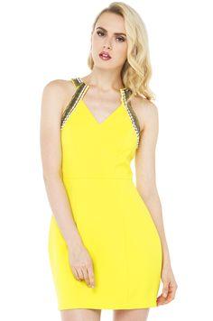 yellow v dress in black