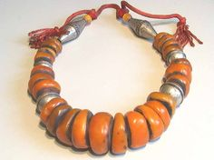 """Large Berber """"amber"""" necklace purchased in Marrakech."""