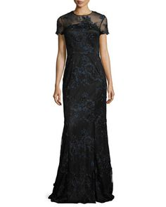 ef470d77cbce Black Wedding Dress Short-Sleeve+Floral+Embroidered+Illusion+Gown