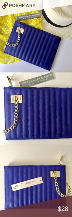"""Quilted Clutch Sondra Roberts Squared / Cobalt Faux Leather Quilted Clutch - Vibrant cobalt blue - Quilted detail with tonal stitching. Faux leather / synthetic materials - Gold tone details- zipper and chain handle  - Measures 10"""" wide, 7"""" tall ***NWT- never used. Brand new*** ✅ NO trades / NO low-balling ✅ List price is fair and highly discounted✌️ Sondra Roberts Squared Bags Clutches & Wristlets"""