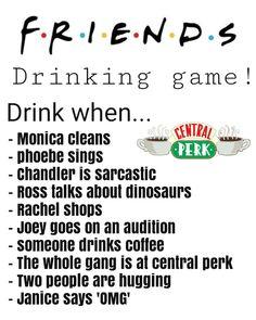 Friends TV show, Drink when. Friends Drinking Game, Tv Show Drinking Games, Drinking Games For Parties, Tv Show Games, Games To Play, Sleepover Party Games, Fun Party Games, Friends Moments, Friends Tv Show