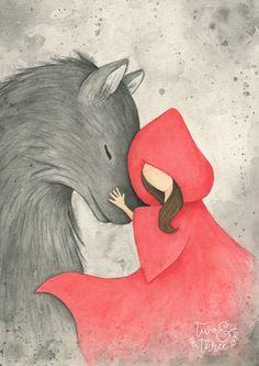 Little Red Ridding Hood, Red Riding Hood, Watercolor Beginner, Watercolor Art, Wolf Spirit Animal, Fairytale Art, Red Hood, Character Illustration, Storyboard