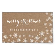 Brown Kraft Paper White Snowflakes Merry Christmas
