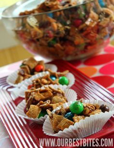 Satisfy both taste-bud teams with a Sweet and Salty Caramel Snack Mix. It's easy to make and simple to share.    #OBB #snackmix #football