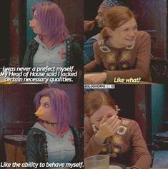 Harry Potter and the Order of the Phoenix Book Tonks and Ginny Harry Potter Puns, Harry Potter Universal, Harry Potter World, Harry Potter Characters, Hogwarts, Slytherin, Fans D'harry Potter, No Muggles, Harry And Ginny