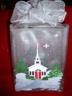 I think I can make this beautiful Winter Church glass block. Painted Glass Blocks, Decorative Glass Blocks, Lighted Glass Blocks, Christmas Glass Blocks, Christmas Signs Wood, Christmas Lights, Wood Craft Patterns, Painting Patterns, Glass Block Crafts