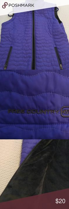 Brand new purple reversible free country vest Brand new, got as a gift, not my style or size! Its reversible and looks super cozy! Size med Free Country Jackets & Coats Vests
